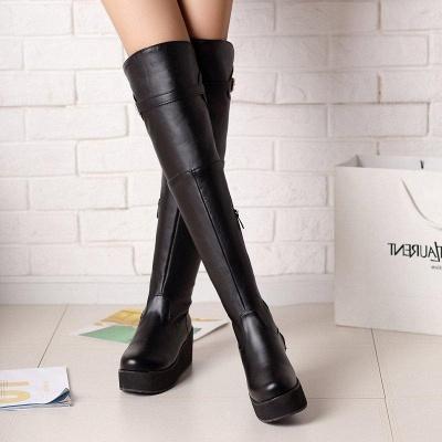 Women's Boots Wedge Heel Black Round Toe Boots On Sale_3