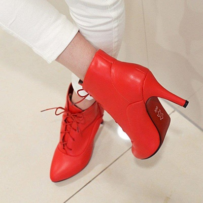 Lace-up Stiletto Heel Pointed Toe Elegant Boots On Sale_8