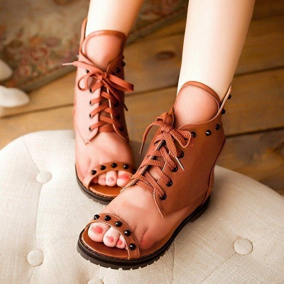 Rivet Mesh Peep Toe Lace-up Chunky Boots On Sale_2