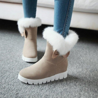 Wedge Heel Suede Fur Round Toe Boots On Sale_3