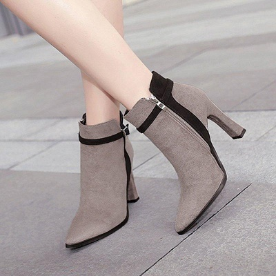 Suede Buckle Chunky Heel Pointed Boots On Sale_3