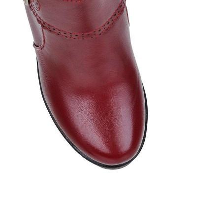 Buckle PU Chunky Heel Round Boots On Sale_7