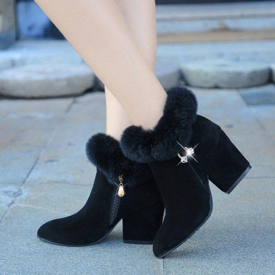 Suede Daily Zipper Chunky Heel Fur Pointed Boots On Sale_4