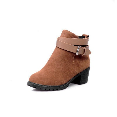 Buckle Chunky Heel Pointed Toe Elegant Boots On Sale_2