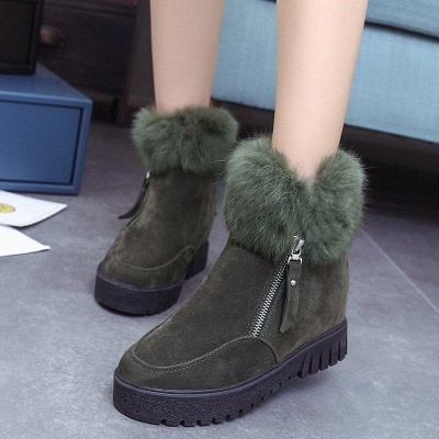 Zipper Fall Suede Chunky Heel Round Boots On Sale_3