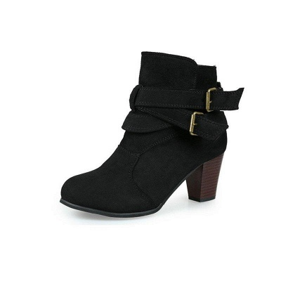 Suede Buckle Chunky Heel Daily Elegant Round Boots On Sale_4