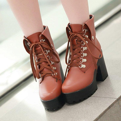 Chunky Heel Lace-up PU Daily Round Boots On Sale_1