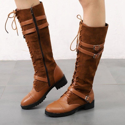 Daily Buckle Chunky Heel Suede Round Toe Boots On Sale_3