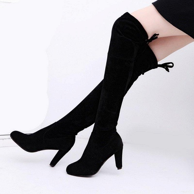 Lace-up Daily Suede Chunky Heel Round Boots On Sale_3