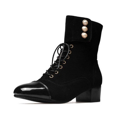 Rivet Chunky Heel Daily Square Toe Boots On Sale_1