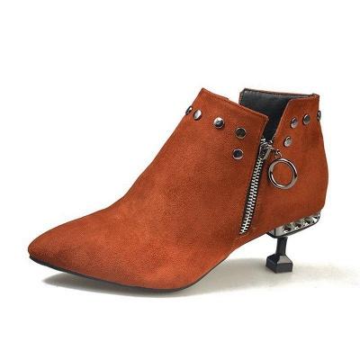 Rivet Kitten Heel Suede Boots On Sale_2