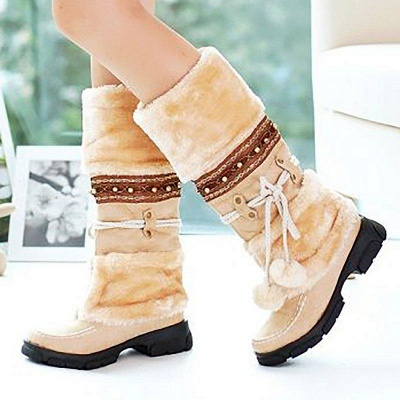 Fur Chunky Heel Suede Round Boots On Sale_3