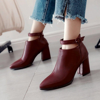 Chunky Heel PU Daily Tie Round Boots On Sale_2