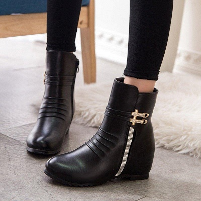 Daily Zipper PU Wedge Heel Round Toe Elegant Boots On Sale_3