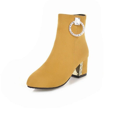 Zipper Daily Chunky Heel Pointed Toe Elegant Boots On Sale_3