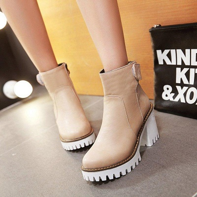 Daily Chunky Heel Zipper Round Boots On Sale_9