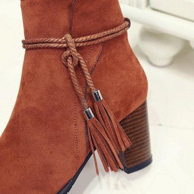 Chunky Heel Daily Tassel Zipper Boots On Sale_8