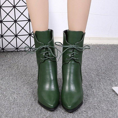Lace-up Chunky Heel Daily Pointed Toe Elegant Boots On Sale_4