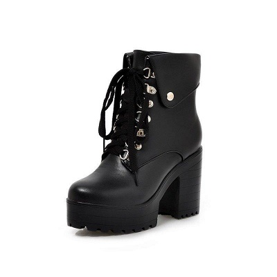 Chunky Heel Lace-up PU Daily Round Boots On Sale_5
