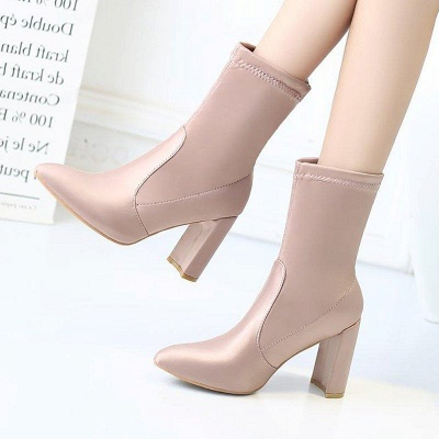Daily Chunky Heel Zipper Pointed Toe PU Boots On Sale_2