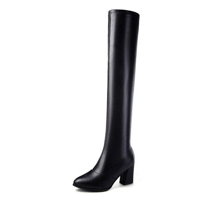 Black Winter Chunky Heel Daily Pointed Toe Boots On Sale_6