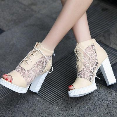 Chunky Heel Lace-up Peep Toe Boots On Sale_2