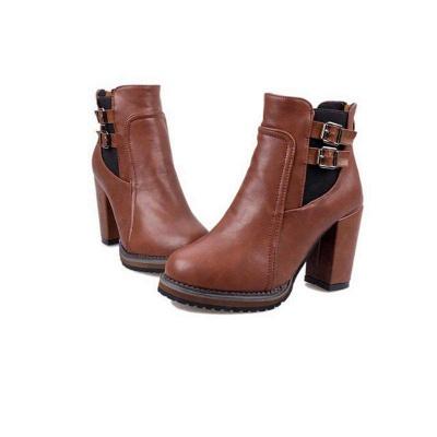 PU Buckle Round Toe Chunky Boots On Sale_6