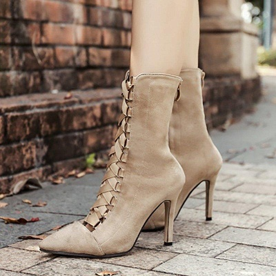 Lace-up Stiletto Heel Daily Elegant Pointed Boots On Sale_6