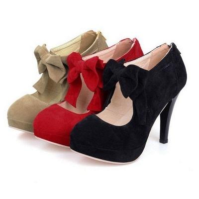 Round Toe Bowtie Hollow Stiletto Heel Women's Boots On Sale_5