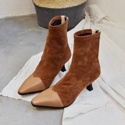 Zipper Cone Heel Daily Pointed Toe Boots On Sale_8
