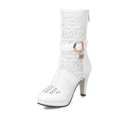 Buckle Hollow-out Zipper Round Toe Boots On Sale_8