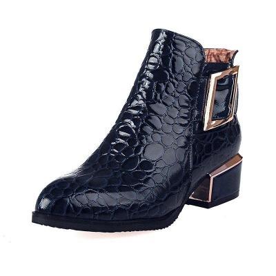 Zipper Chunky Heel Embossing Boots On Sale_2