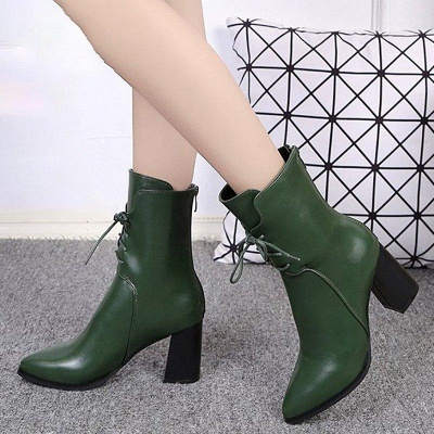 Lace-up Chunky Heel Daily Pointed Toe Elegant Boots On Sale_3