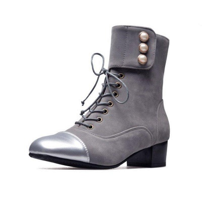 Rivet Chunky Heel Daily Square Toe Boots On Sale_2