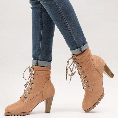 Women's Boots Brown Lace-Up Round Toe Elegant Chunky Heel Boots On Sale_4
