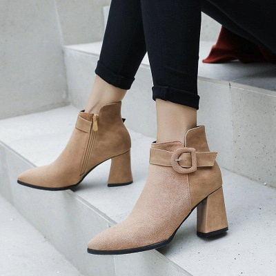 Daily Chunky Heel Suede Round Toe Boot On Sale_3