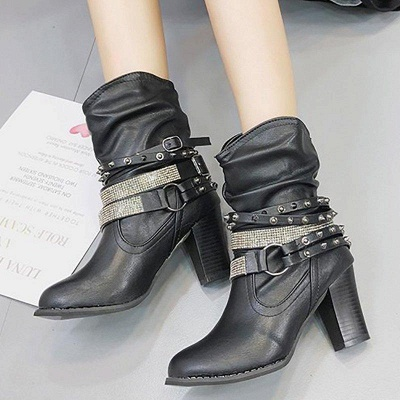 Rivet Chunky Heel Daily Pointed Toe Boots On Sale_8