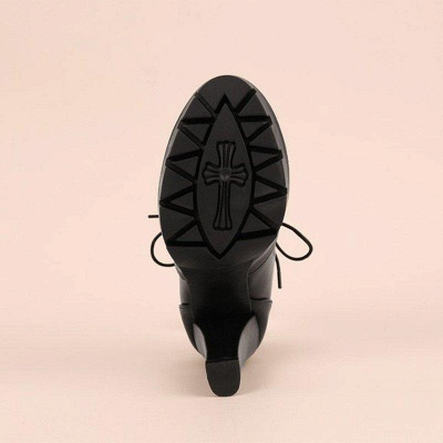 Chunky Heel PU Lace-up Boots On Sale_5