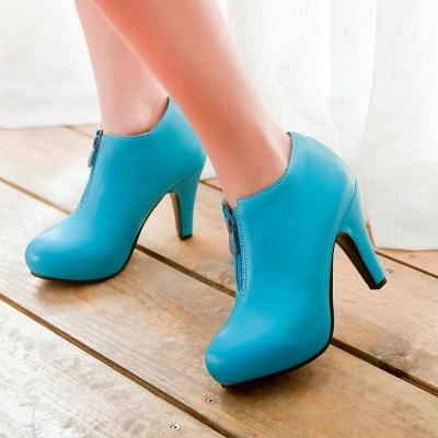 Chunky Heel Zipper Boots On Sale_1