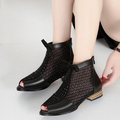 Black Chunky Heel Bowknot Casual Mesh Boots On Sale_6