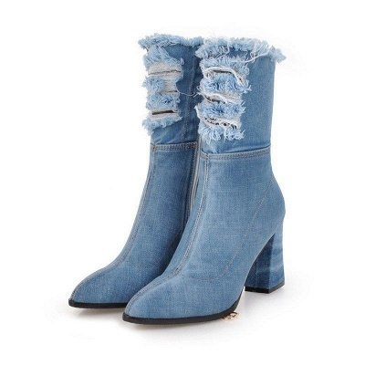 Denim Daily Zipper Chunky Heel Pointed Toe Boots On Sale_3