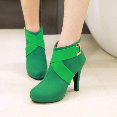 Stiletto Heel Zipper Suede Lace-up Cone Heel Round Boots On Sale_2