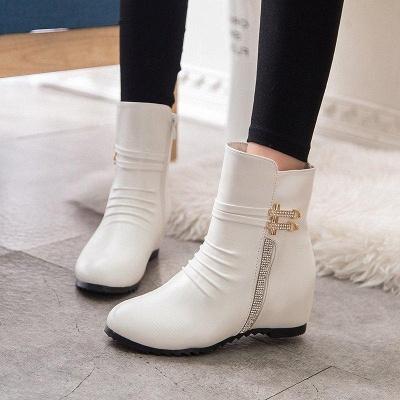 Daily Zipper PU Wedge Heel Round Toe Elegant Boots On Sale_1