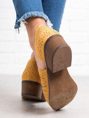 Hollow-out Low Heel Summer Faux Suede Boot On Sale_10