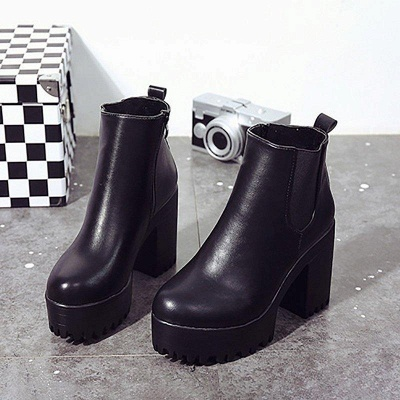 Daily Chunky Heel Round Toe Boots On Sale_5
