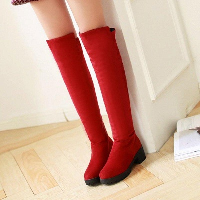Suede Daily Chunky Heel Round Boots On Sale_4