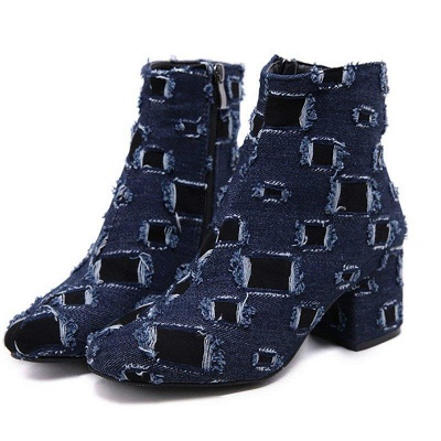 Daily Hollow-out Chunky Heel Round Toe Boots On Sale_1