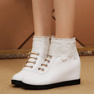Zipper Daily Wedge Heel Round Toe Boots On Sale_1