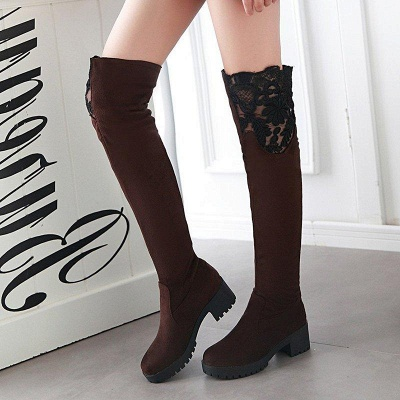 Blue Suede Daily Chunky Heel Pointed Boots On Sale_3