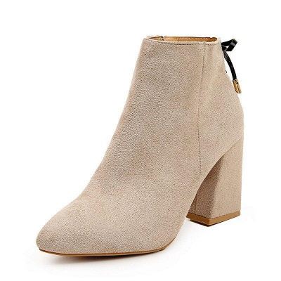 Chunky Heel Daily Lace-up Pointed Toe Zipper Boots On Sale_7